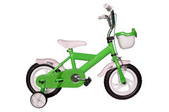 Green children's bicycle Stock Photo
