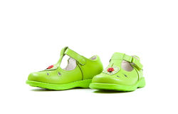 Green children's sandals  isolated on white background Royalty Free Stock Photos