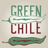 Green Chile Pepper. Stylized green chile pepper with drawn letters Royalty Free Stock Images