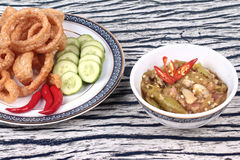 Green chili dip as  Nam Prik Num served side dish. Stock Photography