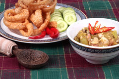 Green chili dip as  Nam Prik Num served side dish. Stock Photos