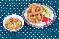 Green chili dip as  Nam Prik Num served side dish. Stock Photo