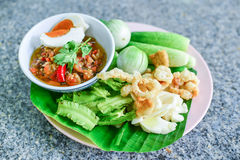 Green chili dip Northem style chilli dip. Quick recipe to show you how to make this versatile and spicy northern Thai green chilli dip. This recipe is commonly Royalty Free Stock Photo