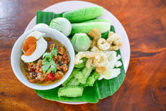 Green chili dip Northem style chilli dip. Quick recipe to show you how to make this versatile and spicy northern Thai green chilli dip. This recipe is commonly Royalty Free Stock Photos