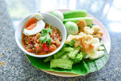 Green chili dip Northem style chilli dip. Quick recipe to show you how to make this versatile and spicy northern Thai green chilli dip. This recipe is commonly Stock Photography