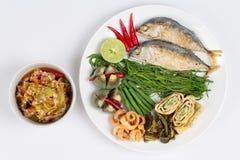 Green chili dip & x22; Nam Prik Num& x22; served side dish. Top view Stock Photos