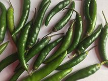 Green chili fingers on white background Stock Images