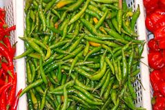 Green chili hot peppers Royalty Free Stock Photography
