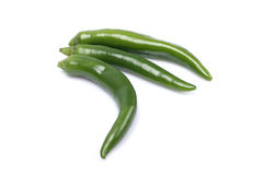 Green chili pepper. On white background stock images