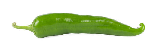 Green chili pepper. Isolated on a white Royalty Free Stock Image