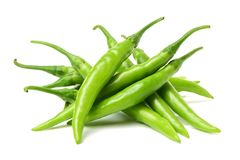 Green Chili Peppers Stock Images