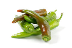Green Chili peppers. Arrangement of green Chili peppers  on white background Stock Photos