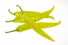 Green Chili Peppers isolated on white Royalty Free Stock Image