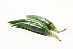 Green chili peppers, Thailand. Green chili peppers on a white background, Thailand Royalty Free Stock Photography