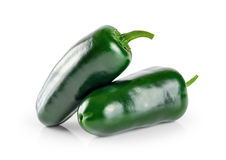 Green chilies (jalapeno) isolated on white background. Stock Images