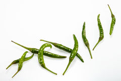 Green Chilli pepper Stock Images