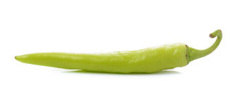 Green chilli pepper  on white background. Royalty Free Stock Photography
