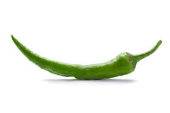 Green chilli pepper on white Stock Images