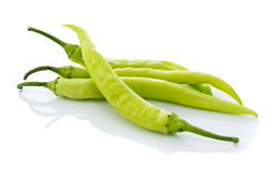 Green chilly. Fresh green chilly on white background royalty free stock photo