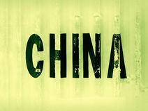 Green China delivery container textured background Royalty Free Stock Image