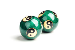 Green Chinese balls for relaxation on white Royalty Free Stock Image
