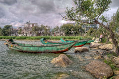 Green Chinese Boats on Erhai Lake in Dali China Royalty Free Stock Photos