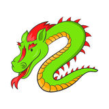 Green chinese dragon icon, cartoon style. Green chinese dragon icon in cartoon style on a white background Stock Photography