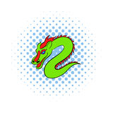 Green chinese dragon icon, comics style. Green chinese dragon icon in comics style on a white background Stock Images