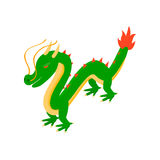 Green chinese dragon icon, isometric 3d style. Green chinese dragon icon in isometric 3d style on a white background Royalty Free Stock Photo