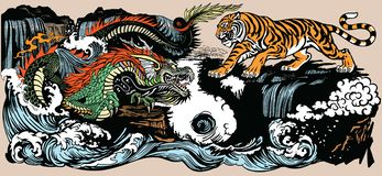 Green Chinese dragon and tiger illustration royalty free stock photography