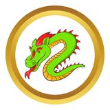 Green chinese dragon vector icon. In golden circle, cartoon style isolated on white background Royalty Free Stock Photography