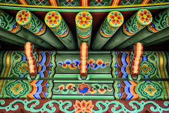 Green Chinese ethnic painted wooden blockhouse background Royalty Free Stock Photo