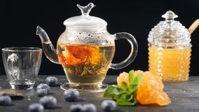 Green Chinese Flower Tea Blooming in Glass Teapot. Tea ceremony. blueberry, glass can with honey. Pouring boiled water. Slow motion. hd stock video