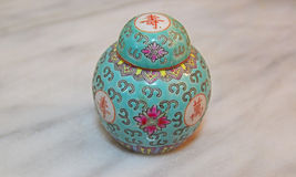 Green Chinese Porcelain Ginger Jar and Lid Cover on Marble Table Royalty Free Stock Photos