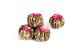 Green chinese tea balls Stock Photos