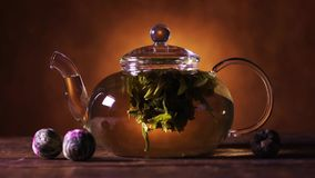 Green Chinese tea flower bud blooming in glass teapot
