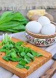 Green chopped eggs salad with potato, ramson and parmesan cheese Royalty Free Stock Photo