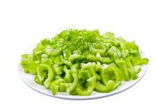 Green Chopped Pepper Stock Photos