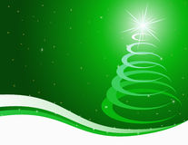 Green christmas background. With a stylised fur-tree Royalty Free Stock Photos