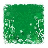 Green Christmas Background. With snowflakes and white decorative border Stock Image