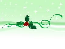 Green christmas background. With holly Royalty Free Stock Image
