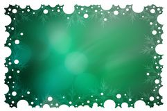 Green Christmas background. With white snowflakes Royalty Free Stock Photos