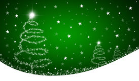 Green christmas background. With abstract christmas trees and stars Stock Photography
