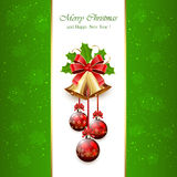 Green Christmas background with bells Royalty Free Stock Photography