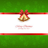 Green Christmas background with bells and red bow Stock Photography