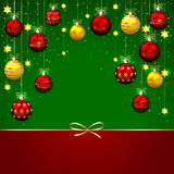 Green Christmas background with bow Stock Photos
