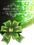 Green Christmas background with bow. Christmas and New Year background with green bow and ribbon Royalty Free Stock Image
