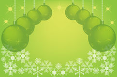 Green christmas background with christmas balls Stock Photography