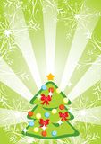 Green Christmas background with fir-tree Stock Images