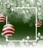 Green Christmas background with fir white branches and bauble. Vector Royalty Free Stock Photo